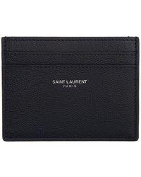 Saint Laurent - ネイビー ロゴ カード ケース - Lyst