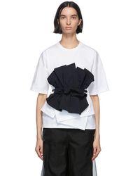 Enfold ネイビー And ホワイト カット レイヤード T シャツ