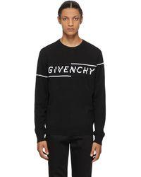 Givenchy ブラック And ホワイト Split ロゴ セーター