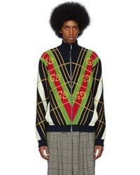 Gucci Navy And White Jacquard Zip-up Jumper - Multicolour