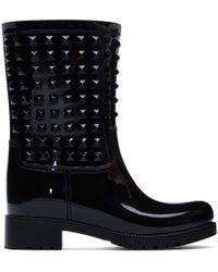 Valentino Garavani The Rockstud Glossed-rubber Rain Boots - Black