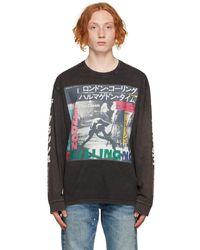 R13 T-shirt à manches longues Clash 'Armagideon Time' noir