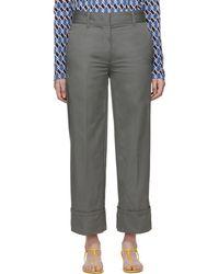 Prada - Grey Cotton Pocket Logo Trousers - Lyst