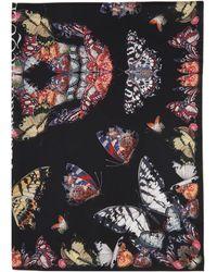 Alexander McQueen Foulard en soie noir Butterfly Decay Skull