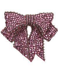 Gucci | Pink Crystal Bow Brooch | Lyst