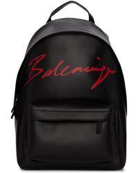 Balenciaga ブラック スモール スクリプト ロゴ エブリデイ バックパック