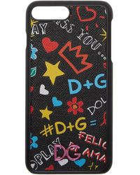 Dolce & Gabbana - Black Graffiti Logo Iphone 8 Plus Case - Lyst