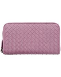 Bottega Veneta - Purple Intrecciato Continental Zip Around Wallet - Lyst
