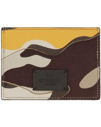 Valentino - Yellow And Beige Garavani Camo Card Holder - Lyst