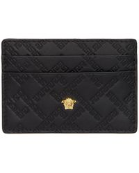 Versace - Black Greek Key Card Holder - Lyst