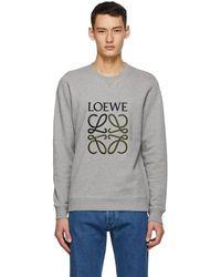 Loewe グレー コットン アナグラム エンブロイダリー スウェットシャツ