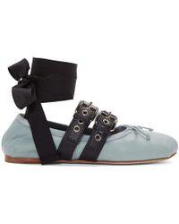 Miu Miu - Blue Double Bands Ballerina Flats - Lyst