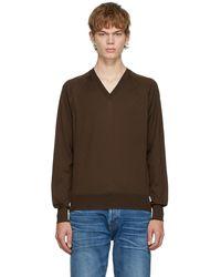 Tom Ford - ブラウン シルク V ネック セーター - Lyst