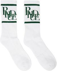 Rhude ホワイト & グリーン ロゴ ソックス