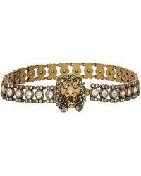 Gucci Gold Crystal Lion Head Choker - Multicolour