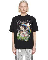 MSGM Black Cat Logo T-shirt