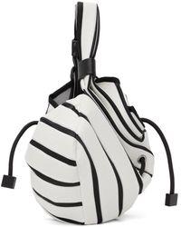 Issey Miyake & Black Linear Knit Tote - White