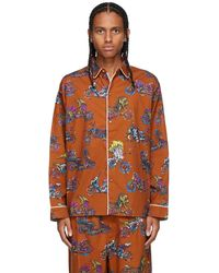 Brain Dead Chemise de pyjama brune à motif à motos - Multicolore