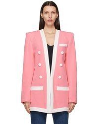 Balmain - ピンク And ホワイト ブレザー - Lyst