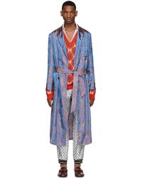 Gucci Blue And Orange Viscose Jacquard Shimmering Coat