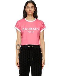 Balmain - ピンク And ホワイト クロップ ロゴ T シャツ - Lyst