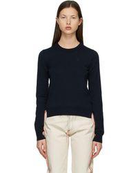 Maison Margiela ネイビー M ロゴ セーター - ブルー