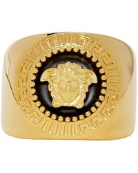 Versace - Gold And Black Medusa Ring - Lyst