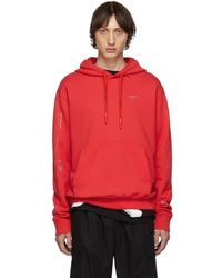 Off-White c/o Virgil Abloh - Ssense Exclusive Red Unfinished Diag Hoodie - Lyst