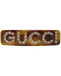 Gucci - Brown Crystal Barrette - Lyst