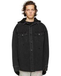 Juun.J - Black Denim Oversized Shirt - Lyst