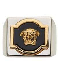 Versace - Silver & Gold Square Medusa Ring - Lyst