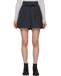 3.1 Phillip Lim - Navy Origami Pleated Shorts - Lyst