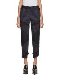 Sacai - Navy Pinstripe Trousers - Lyst