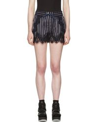 Sacai - Navy Striped Lace Shorts - Lyst