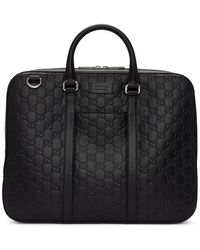 Gucci Black Embossed Signature Briefcase