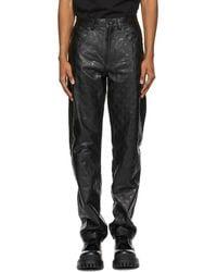Marine Serre Black Regenerated Leather Trousers