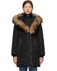 Mackage Manteau De Duvet avec Col À Fourrure Naturelle en Noir