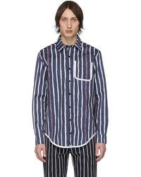 Daniel W. Fletcher Navy Painted Stripe Shirt - Blue