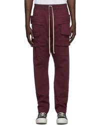Rick Owens Drkshdw Burgundy Creatch Cargo Trousers - Multicolour