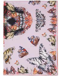 Alexander McQueen Foulard en soie rose Butterfly Decay Skull