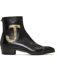 Suicoke Black Leather & Lizard Elton John Zip-Up Boots fnPiO9bgv