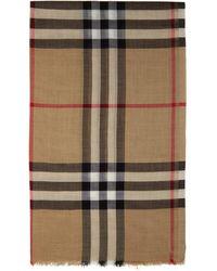 Burberry - ベージュ Giant Check スカーフ - Lyst