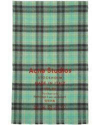 Acne Studios - Foulard a carreaux gris et bleu Cassiar - Lyst