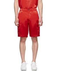 Sies Marjan - Red Washed Satin Elias Cargo Shorts - Lyst