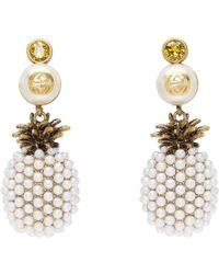 Gucci - Gold Pineapple Drop Earrings - Lyst