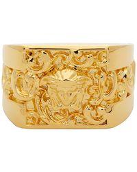 Versace - Gold Square Medusa Ring - Lyst