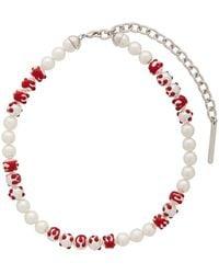 ShuShu/Tong Collier blanc et rouge Big Pearl Blood édition YVMIN exclusif à SSENSE