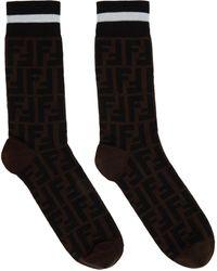 Fendi Double-f Logo Socks - Black