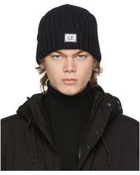 C P Company - Bonnet en laine noir - Lyst