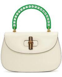 Gucci - White Medium Borsa Bamboo Bag - Lyst